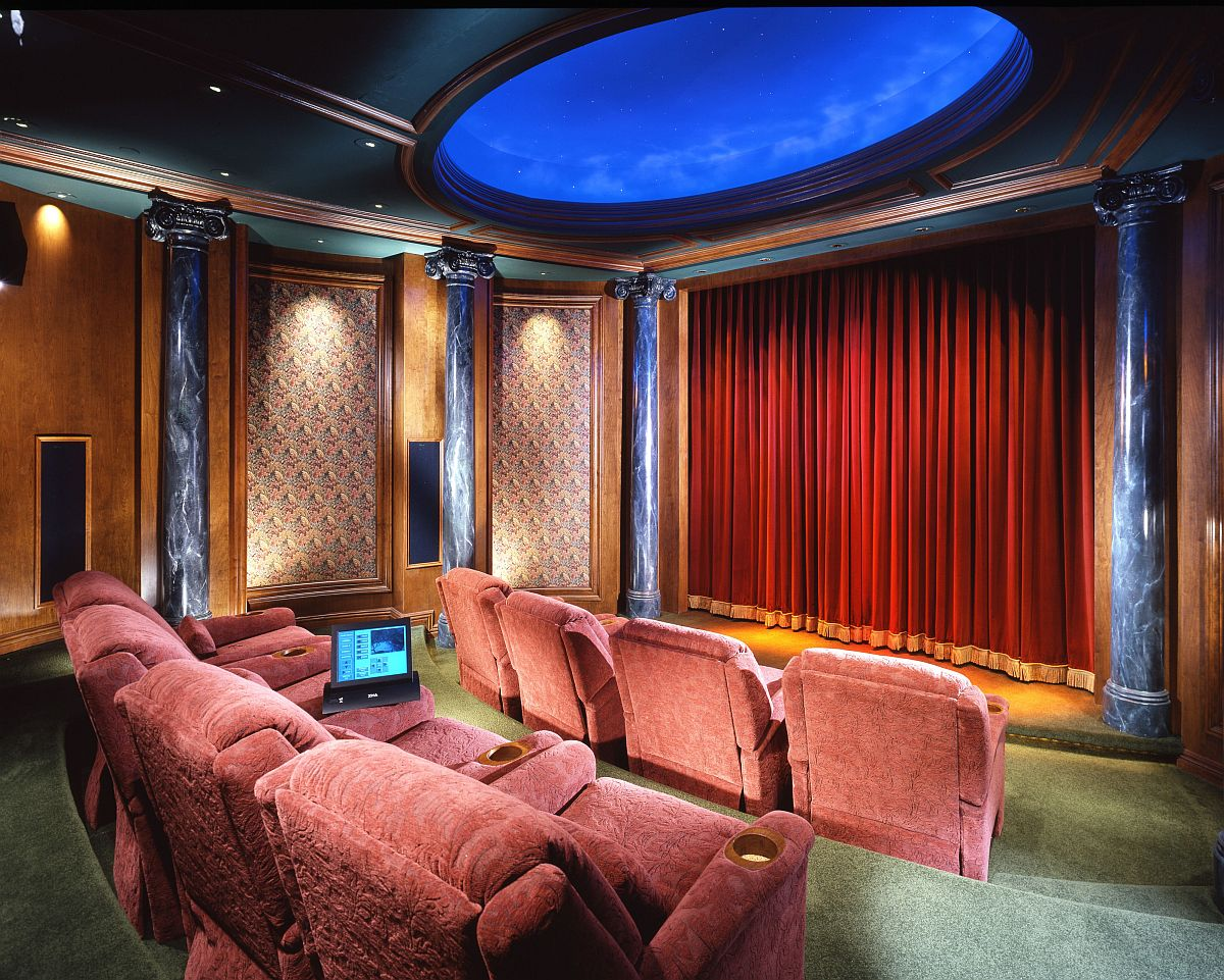 More classical approach to the modern eclectic home theater design