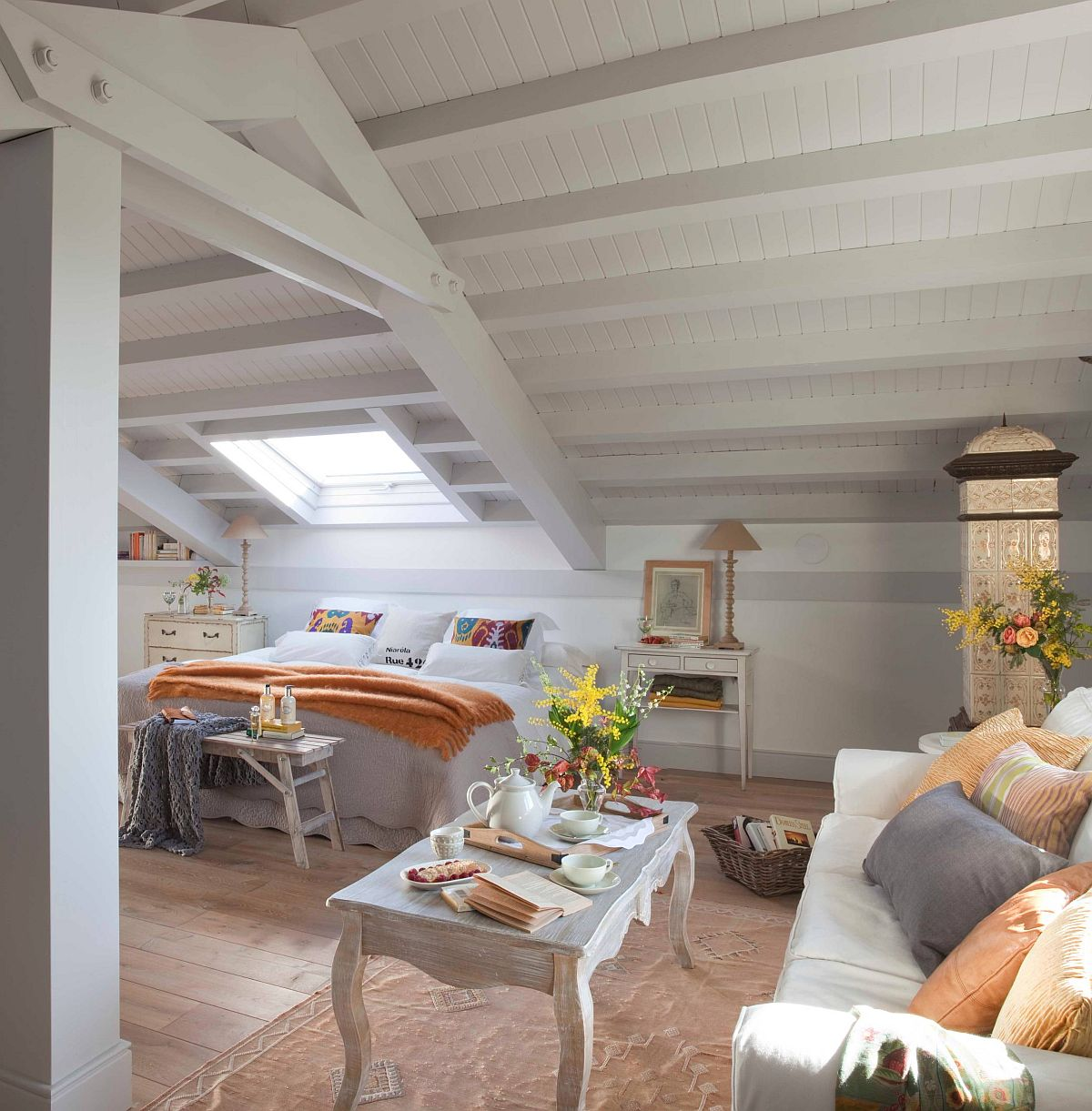 More expansive shabby chic style bedroom for the spacious attic