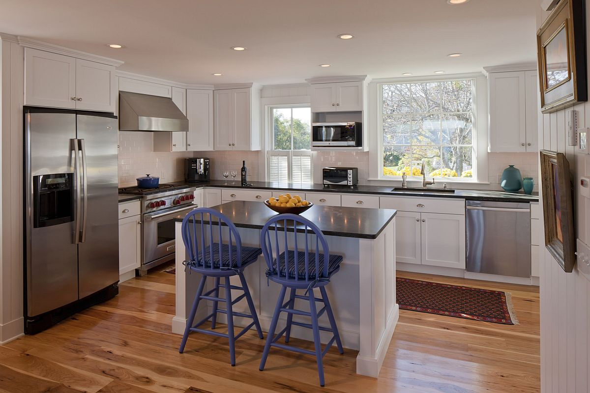Natural wood floors in the kitchen can last a while with the right treatment