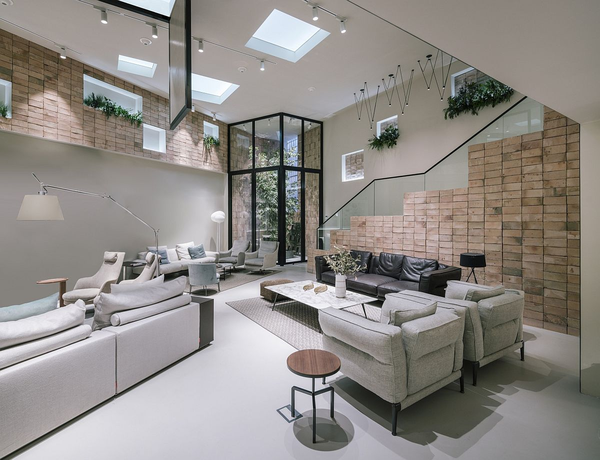 Neutral hues and textured finishes create a cool and elegant interior