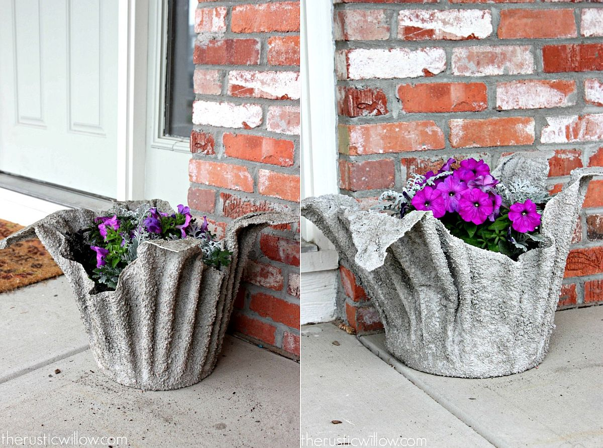 One-of-a-kind concrete planter idea from The Rustic Willow
