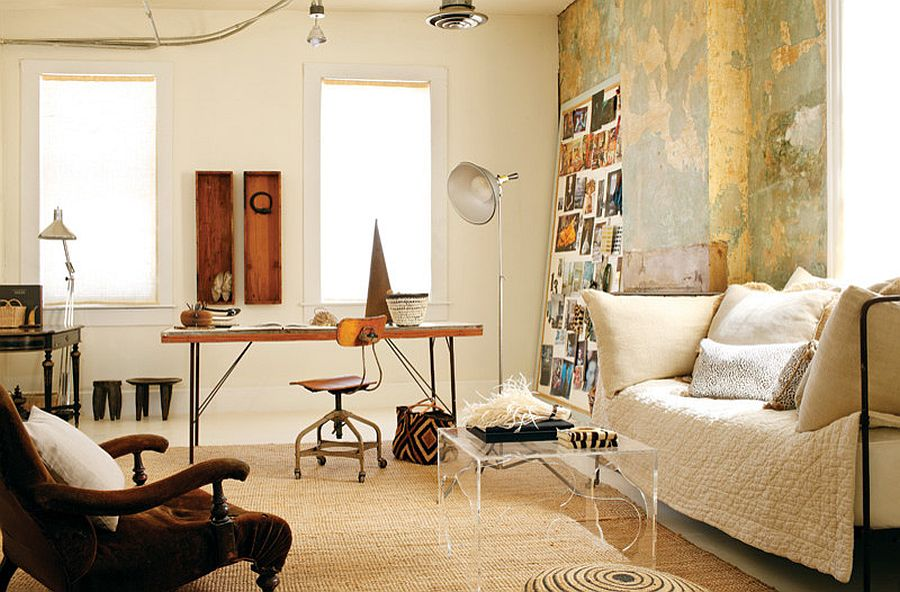 Shabby chic and bohemian styles rolled into one in the small living space