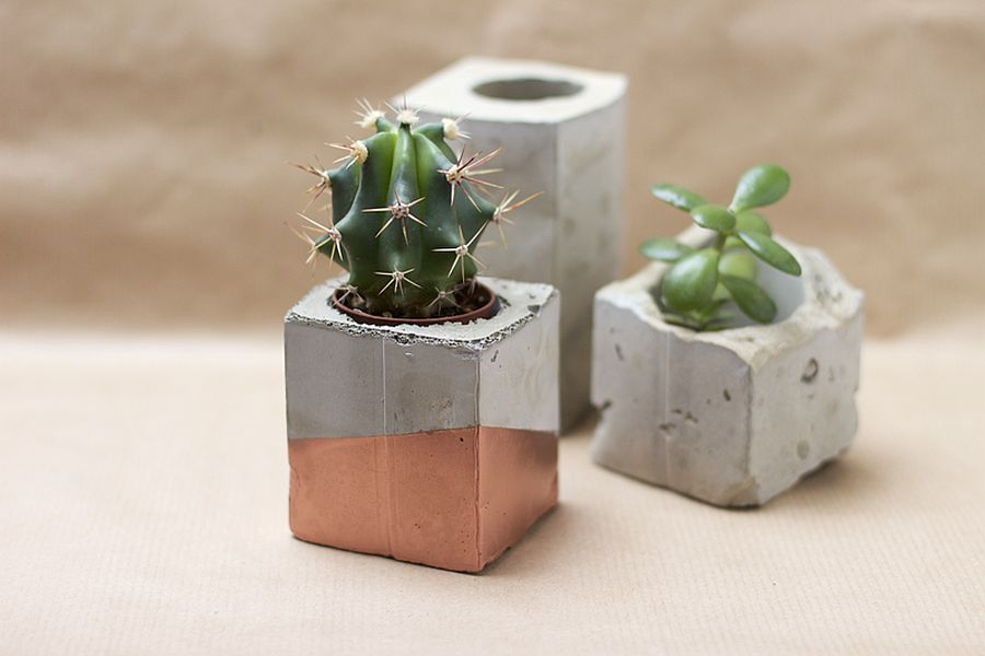 Small DIY vases made from cement and concrete are a popular choice with crafters