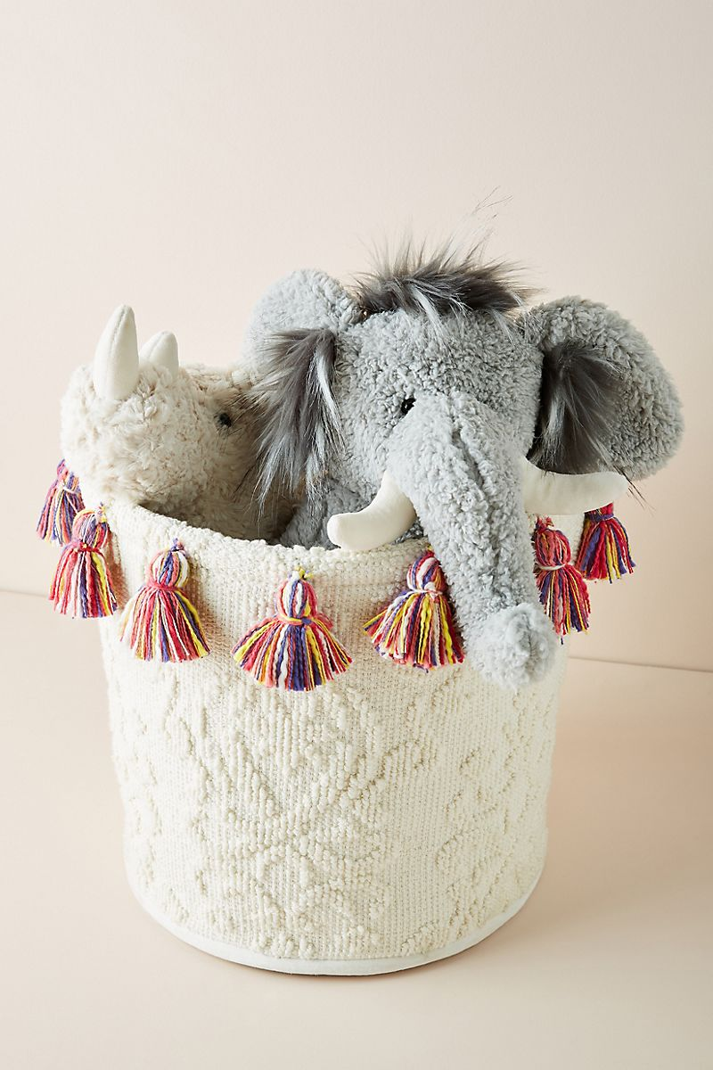Storage basket with rainbow tassels