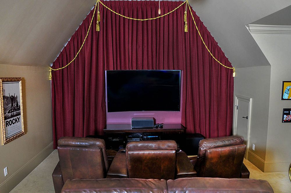 Turn the small room into an eclectic home theater with a simple screen and comfy seats