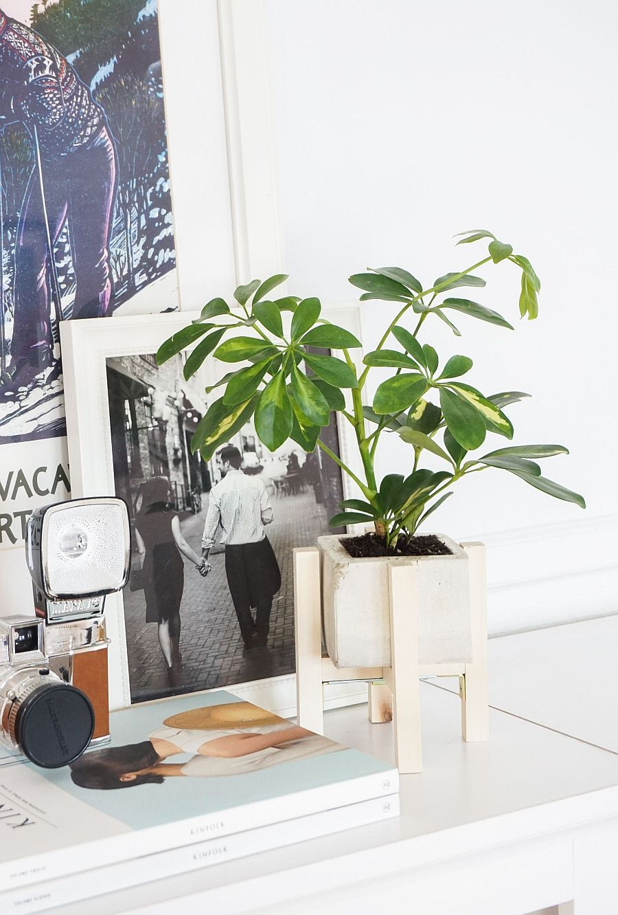 Usher in greenery with a DIY concrete planter that has a wood stand