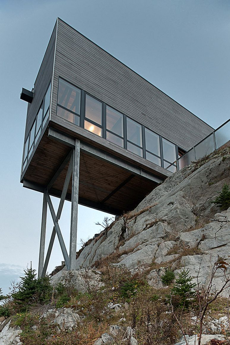 View of the Cliff House from below on the rocky Atlantic coastline