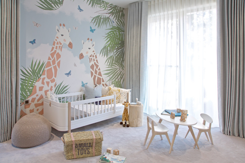 Wallpaper brings a hint of tropical charm to the modern nursery with ample natural light