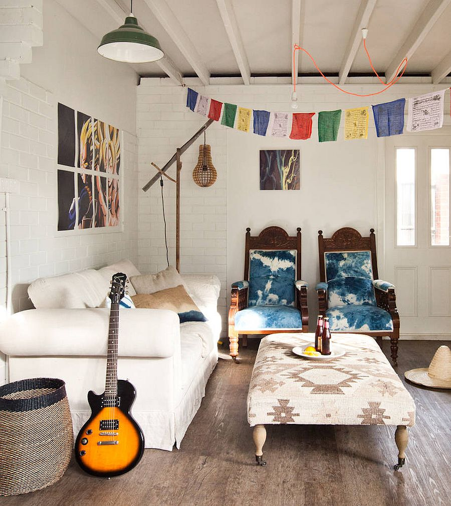 White living room with boho chic style that gently embraces the eclectic