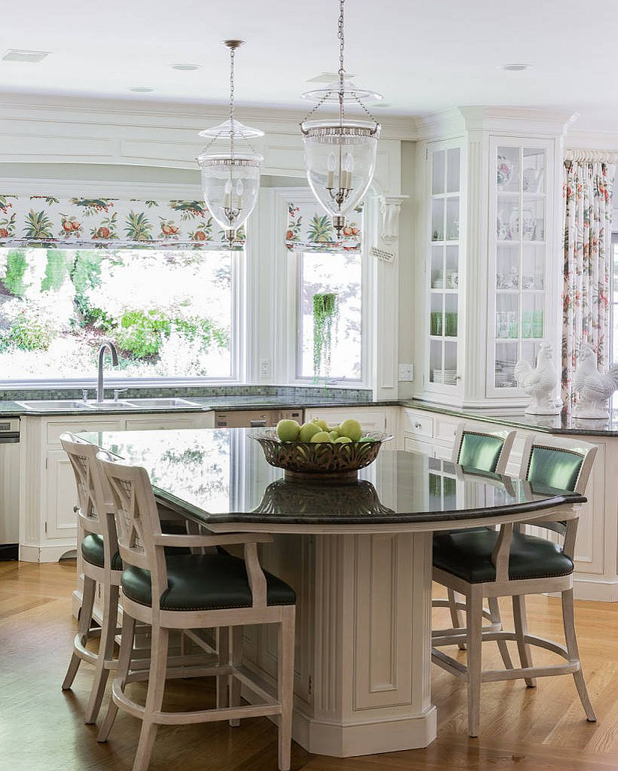 Window blinds and shutters bring pattern filled with flowers to this lovely kitchen