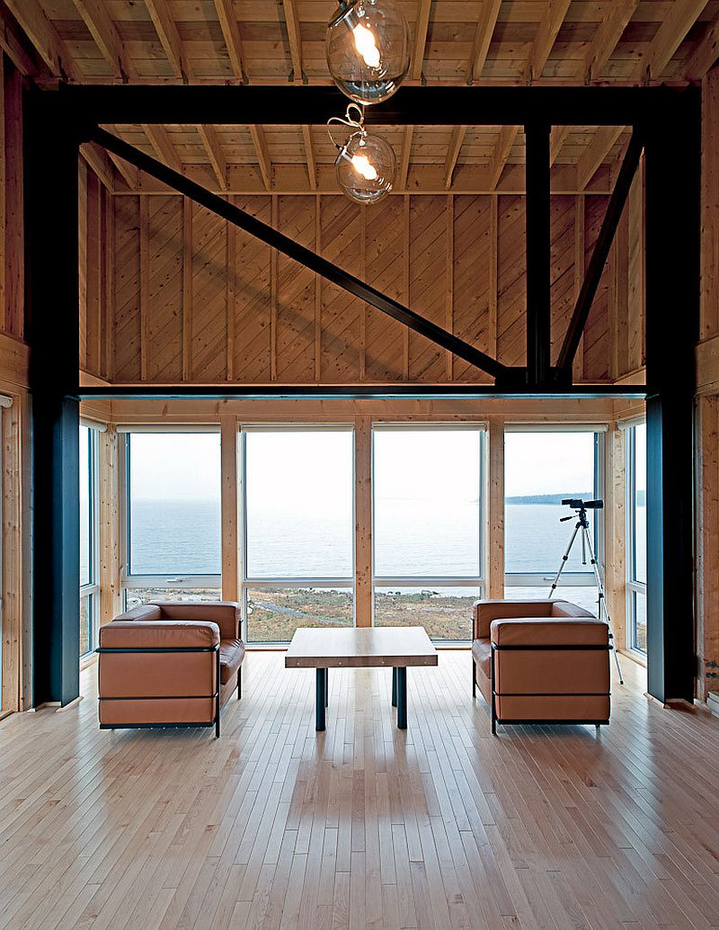 Wood and metal structure of the cabin with grand views just outside