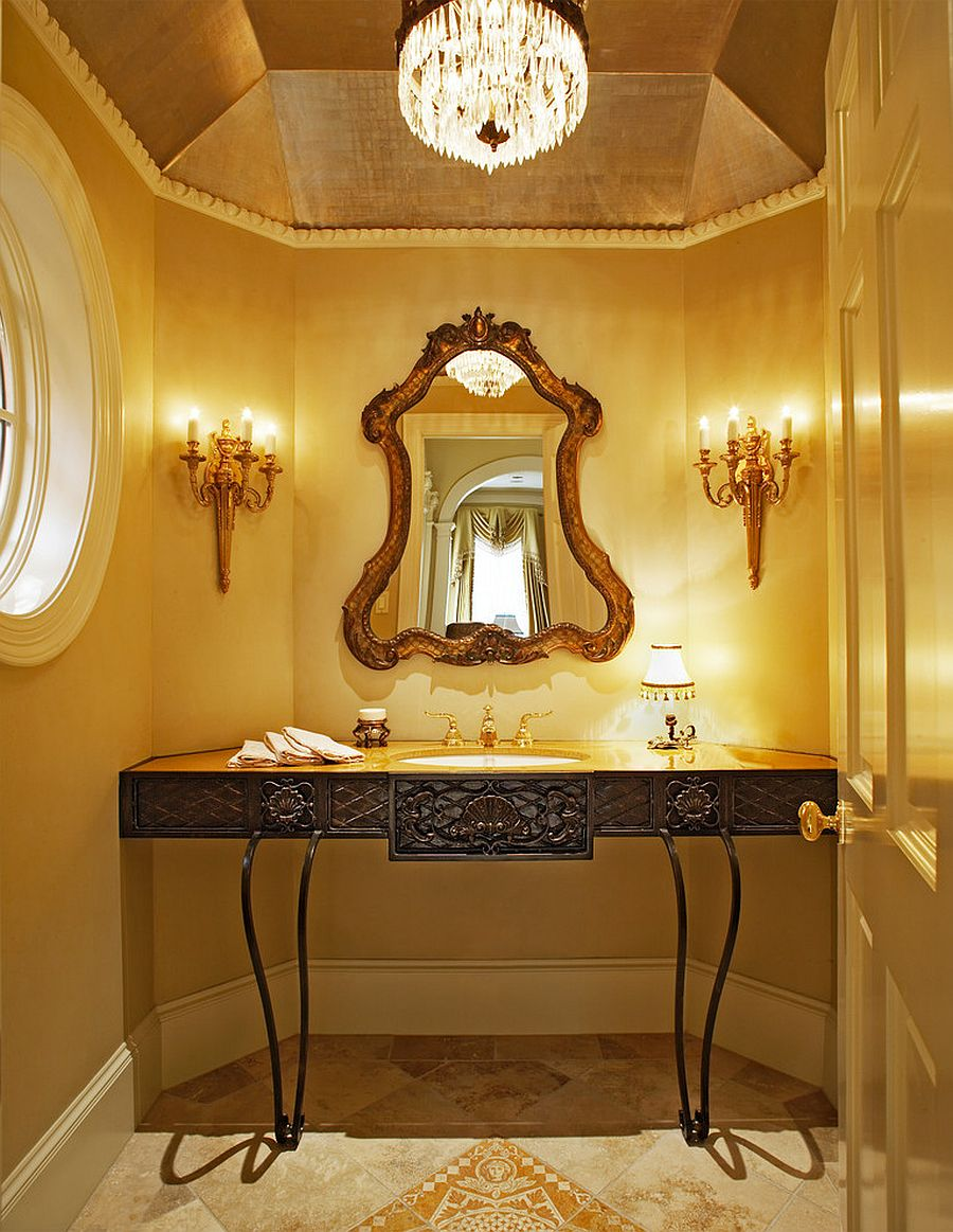 Yellow is the perfect color for the glam Mediterranean powder room