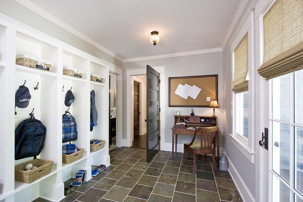 Adding a desk and chair to the mudroom can transform it into a home workstation for everyone