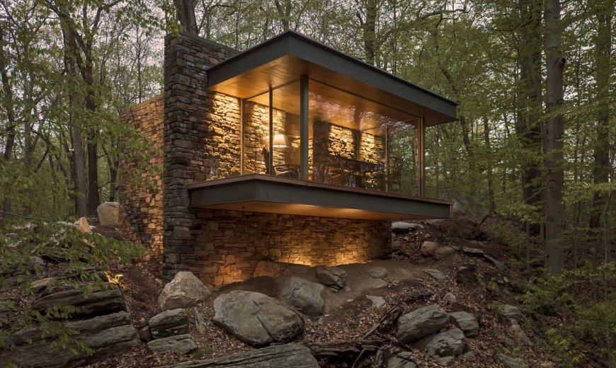 Isolate Yourself and Embrace Nature: Glass-Enclosed Writer's Studio Over a Hill