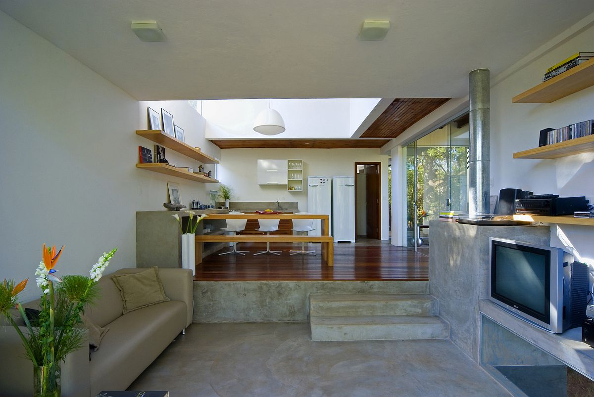 Beautiful multi-level interior of the house with kitchen and dining