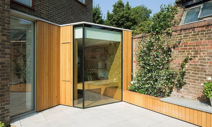 Space-Savvy Reading Room in Oak and Glass Extends Classic London Home