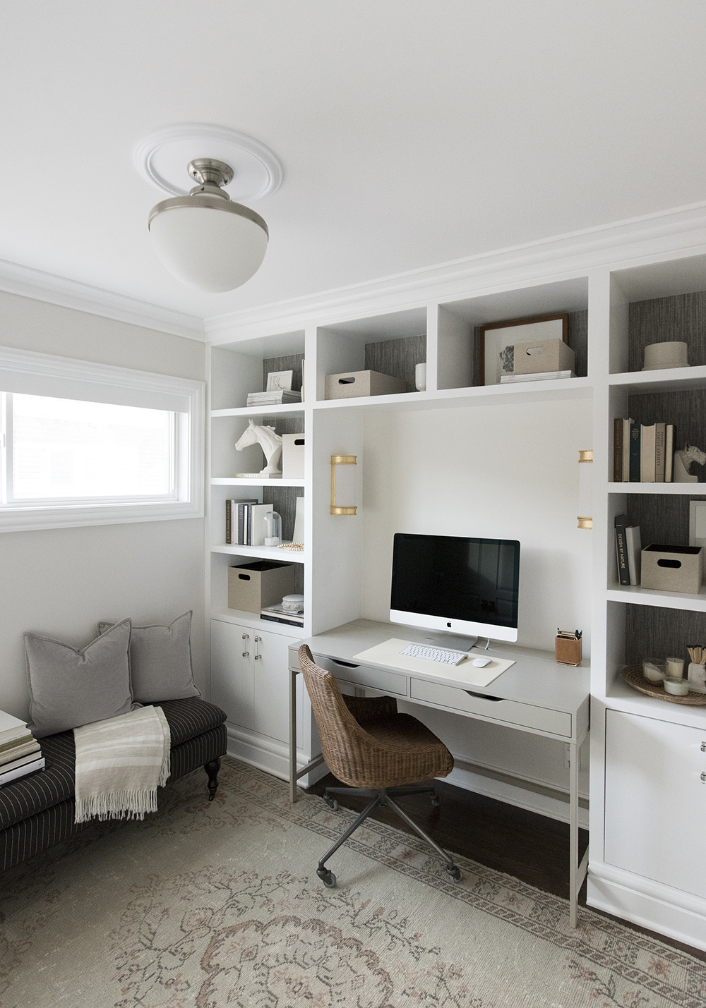 Built-in shelves in a neutral home office