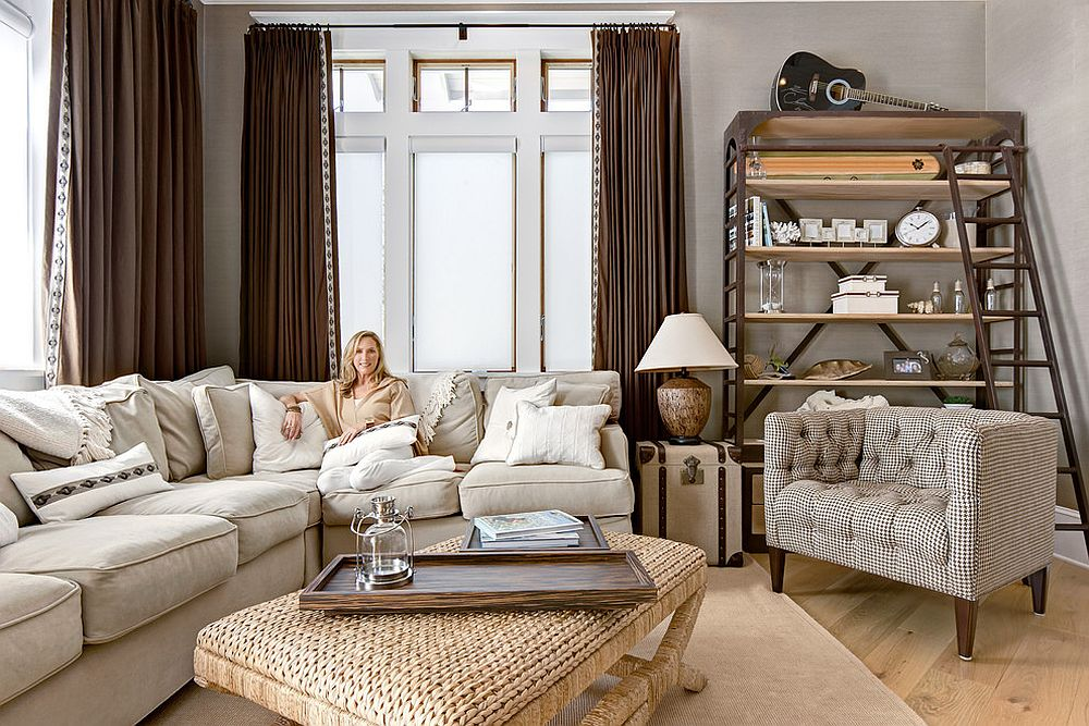 Chic beach style media room decor can also be a great family room at other times