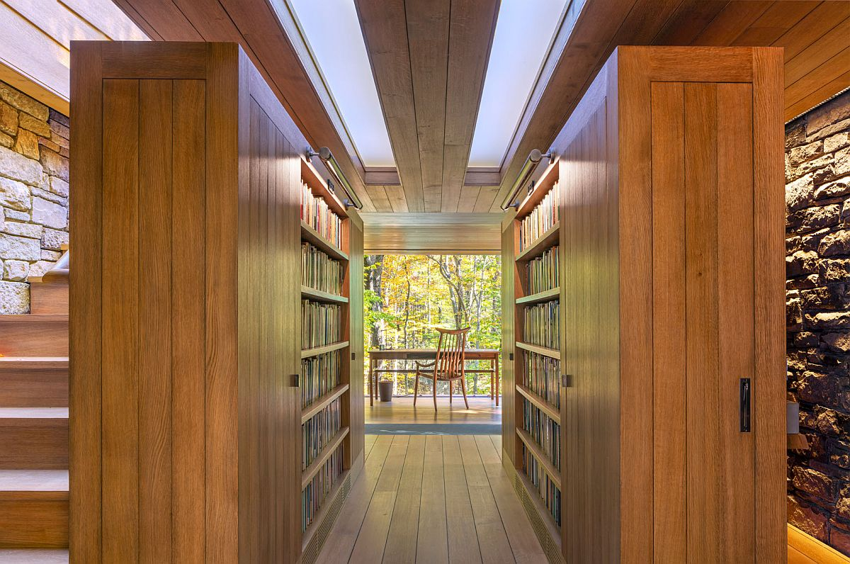 Collection of over 17000 books inside the Writer's Studio find a cozy space