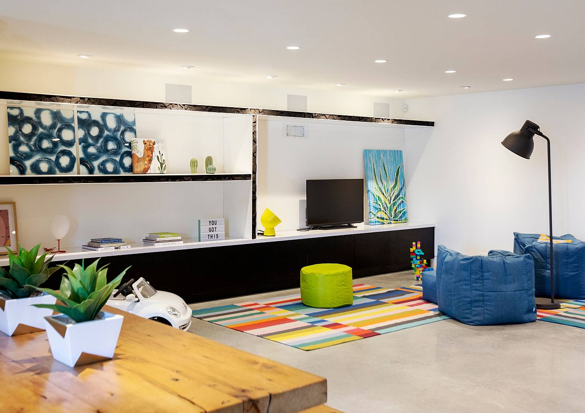 Concrete floors look good in the contemporary kids' room as well