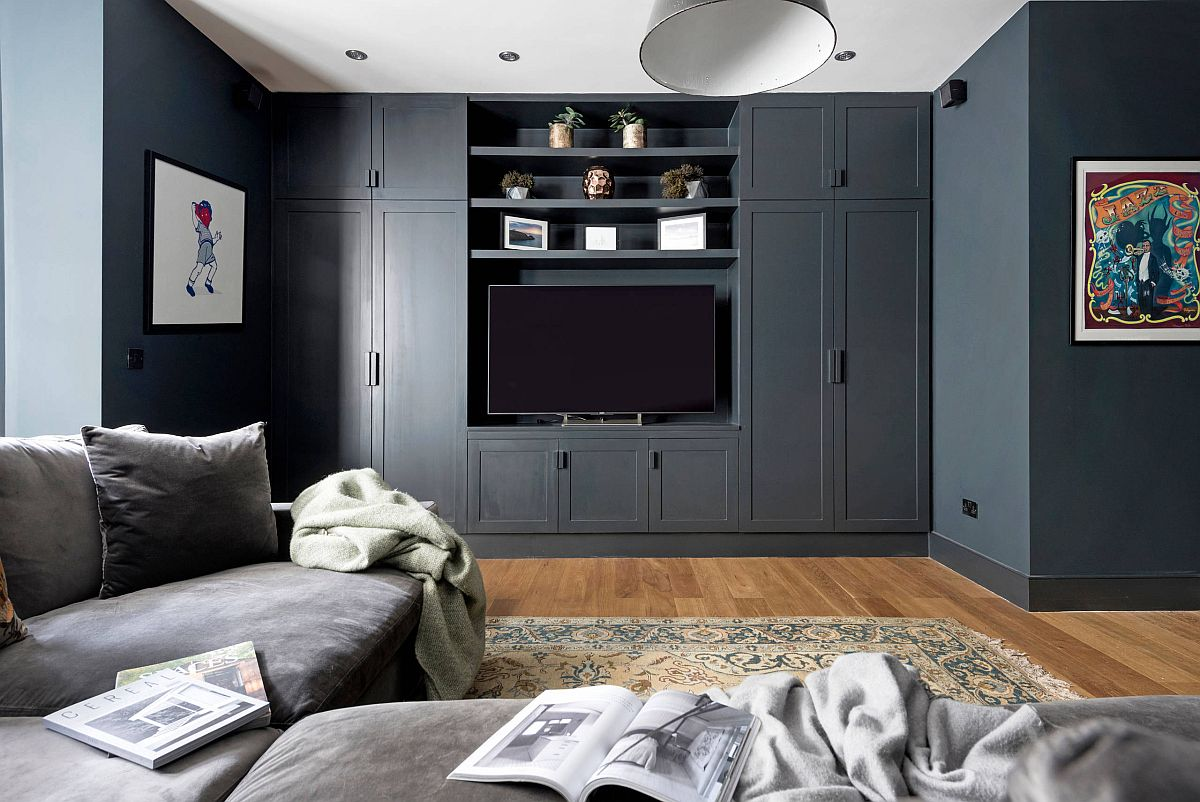Contemporary home theater of London home keeps its design simple and uncomplicated