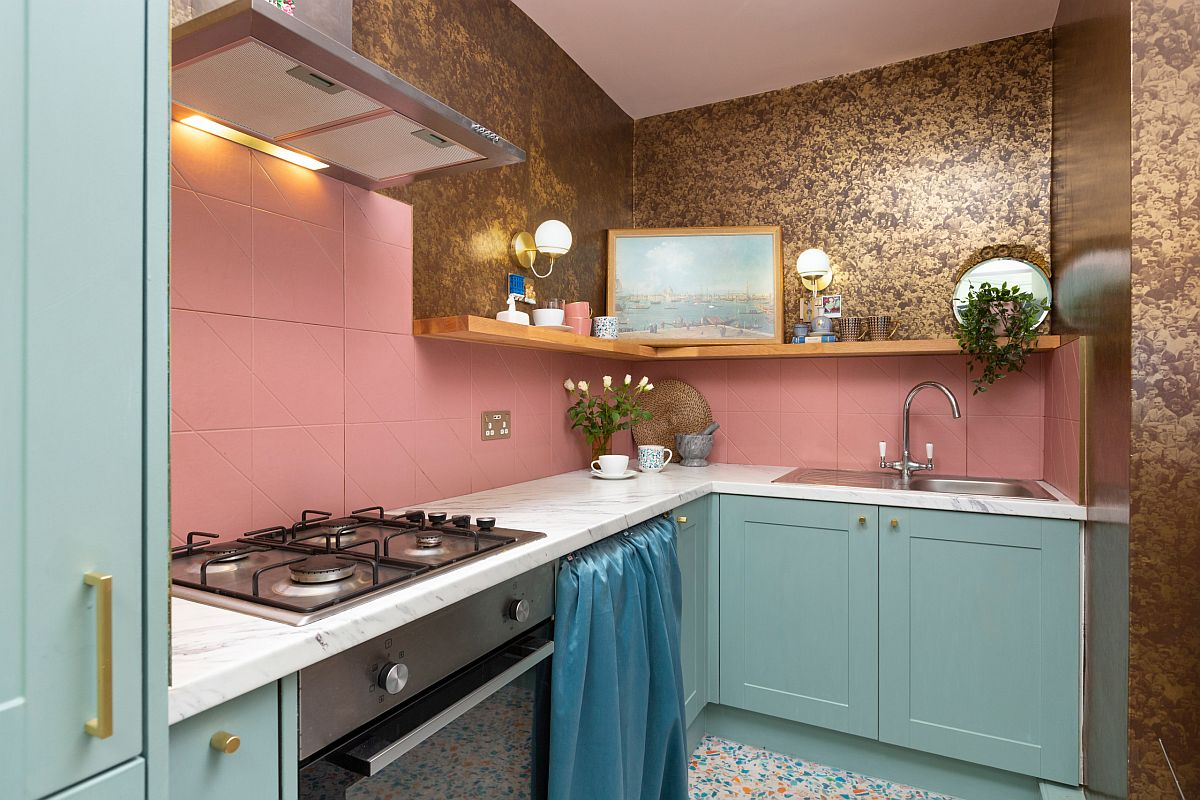 Cost-effective-and-space-savvy-small-kitchen-in-pink-and-blue-with-golden-glint-77437