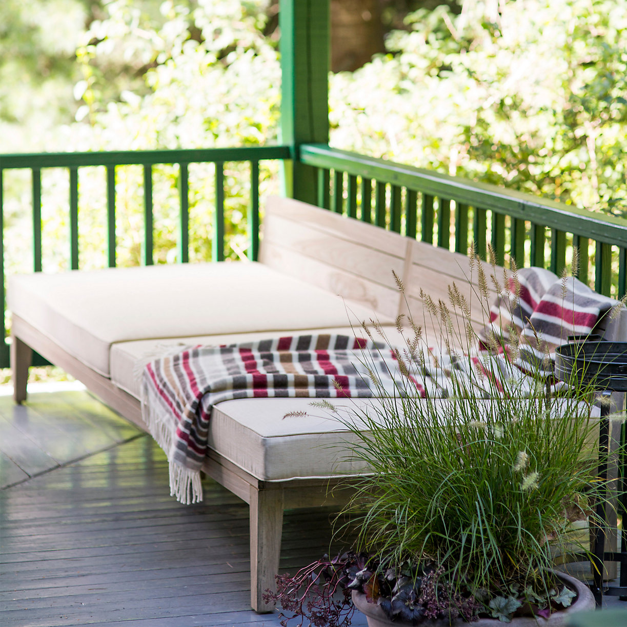 Cozy outdoor space with blanket