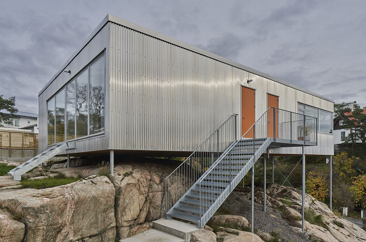 Custom home exterior crafted from aluminum is weather-proof and gives it a unique patina
