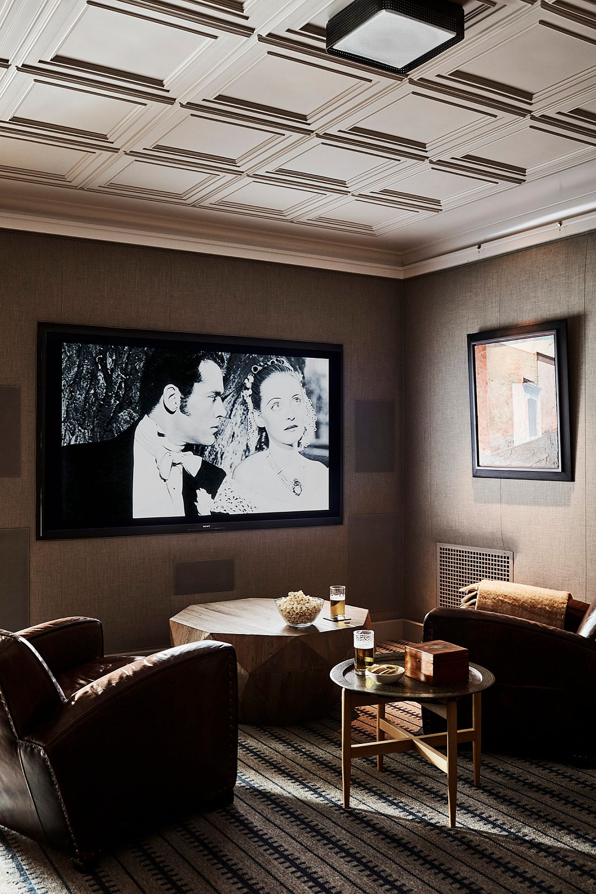 Custom home theater for two feels both stylish and spacious