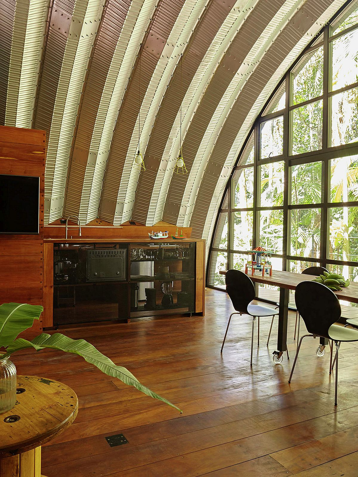 Dome like design of the house gives the interior a unique appeal