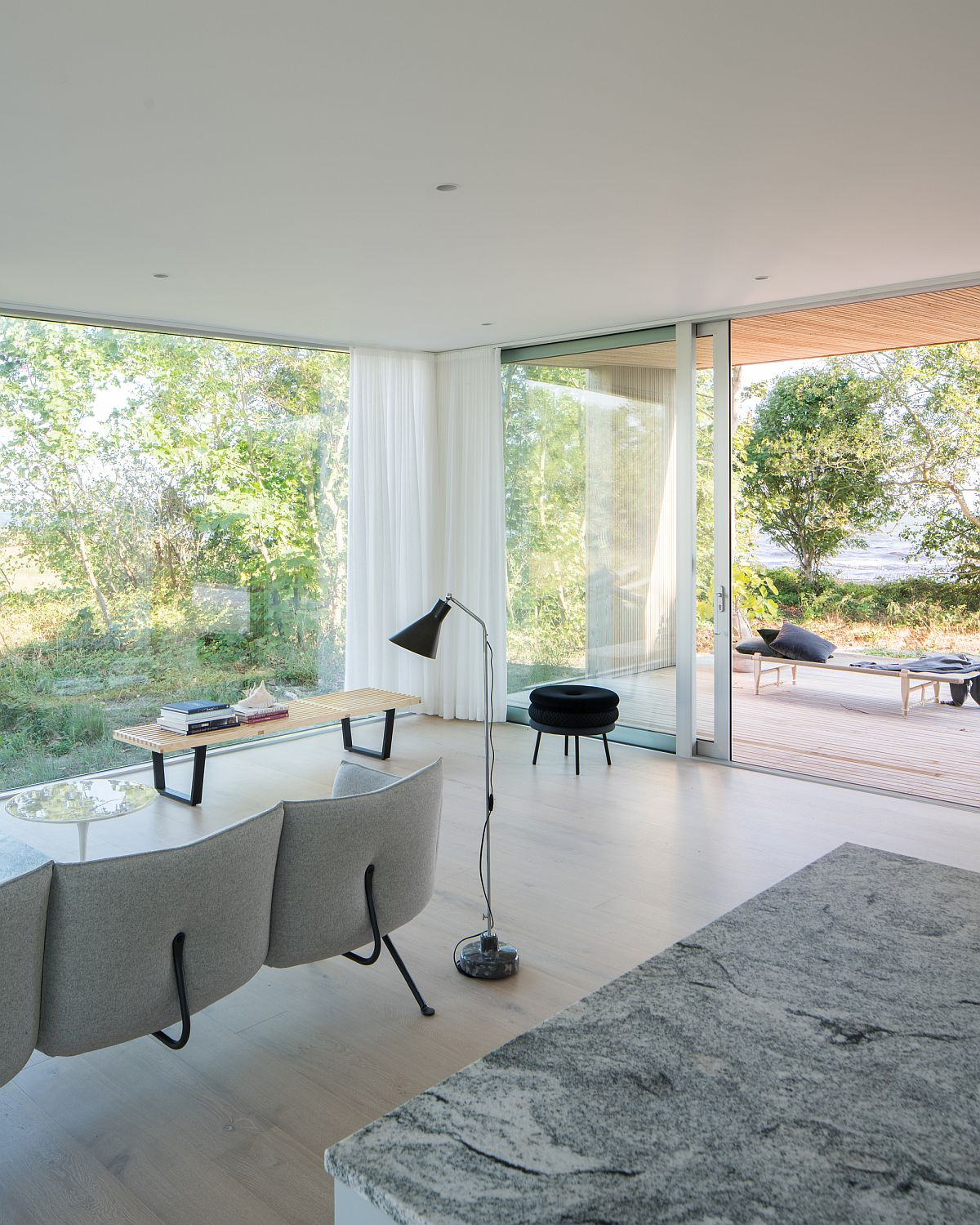 Drapes allow homeowners to switch between complete privacy and sea views