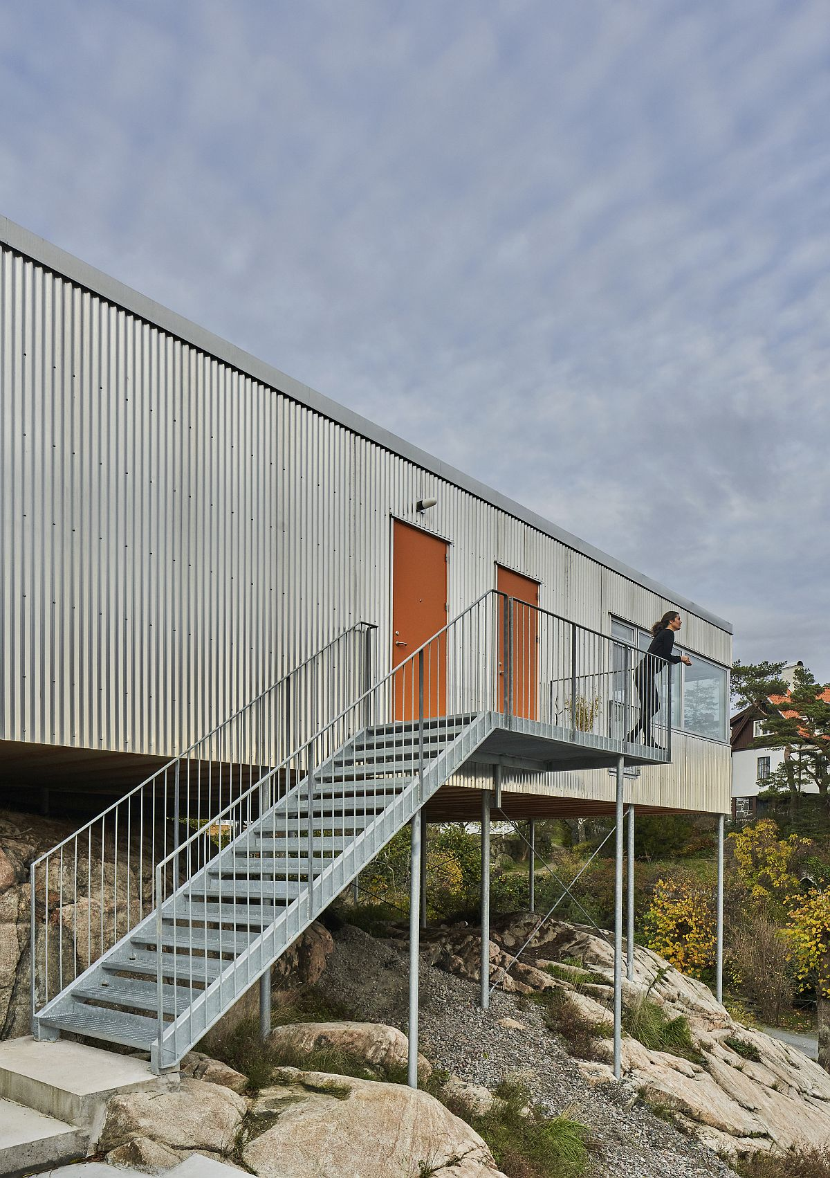 Entry to the cantilevered home in Gothenburg