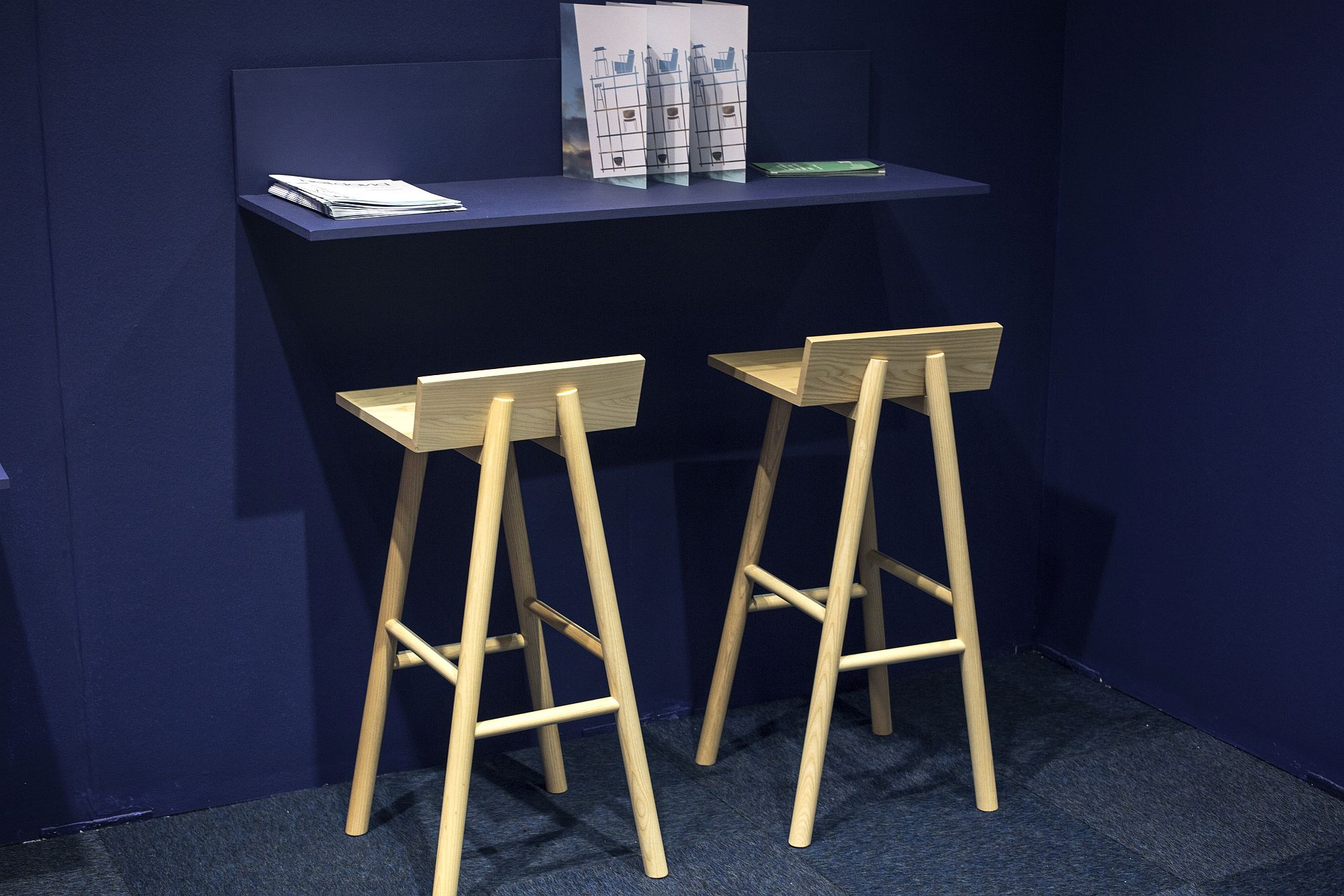 Even a minimal and sleek countertop or shelf can be turned into workspae with the right seat