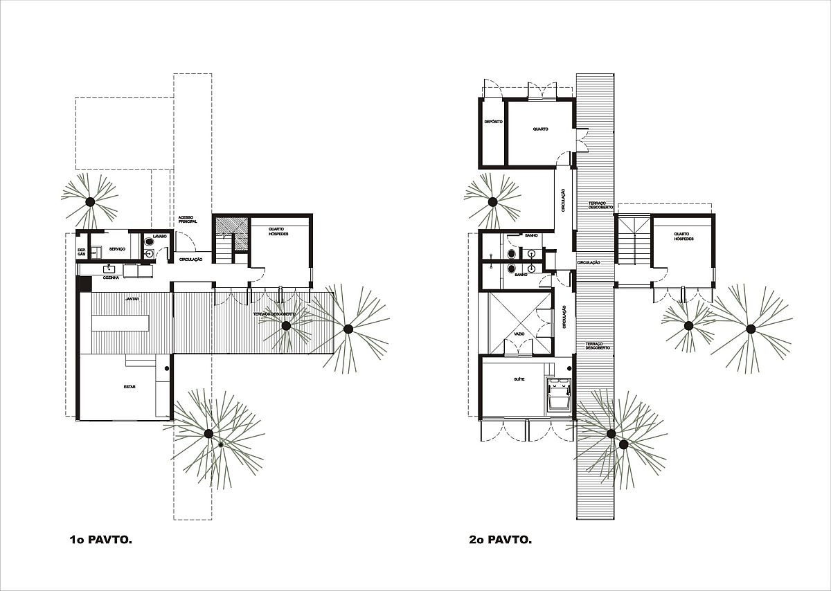 Floor plan of the modern Walkway House in Brazil