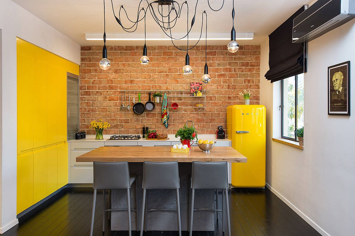 Gorgeous-eclectic-kitchen-with-brick-accent-wall-and-lovely-pops-of-yellow-all-around-73176