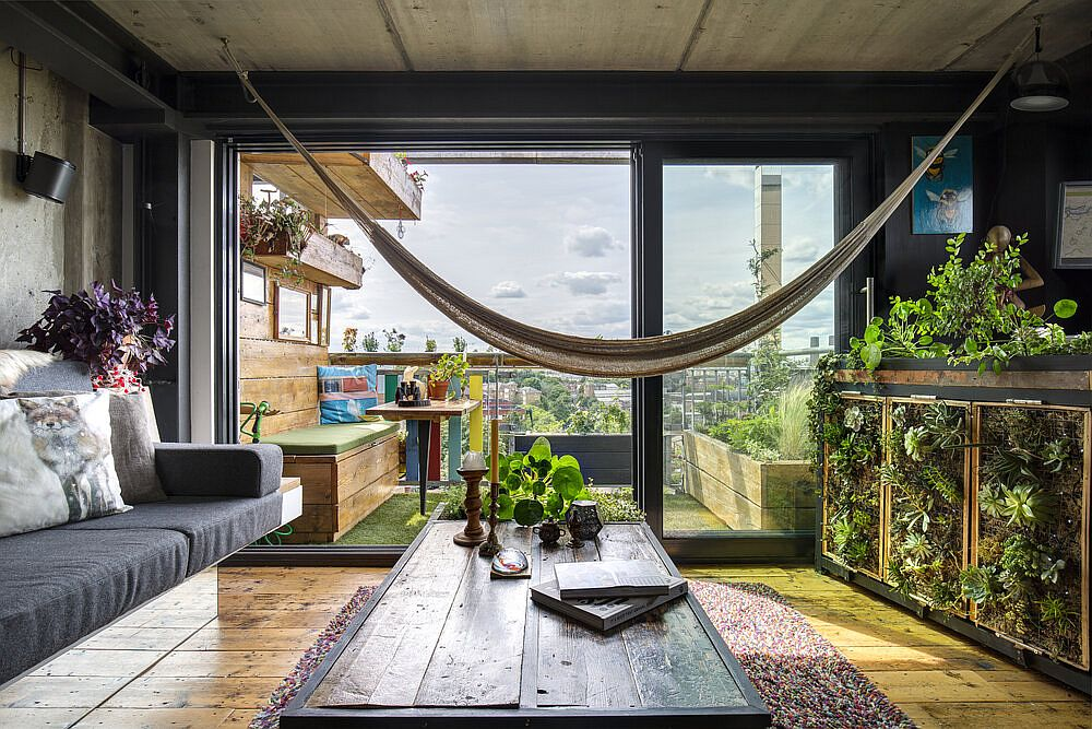 Hammock brings breezy bohemian appeal to the unique London apartment living room