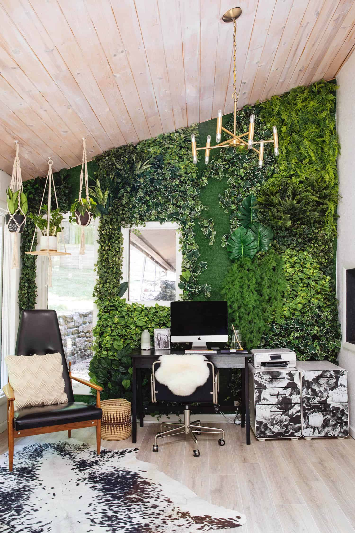 Home office with a faux living wall