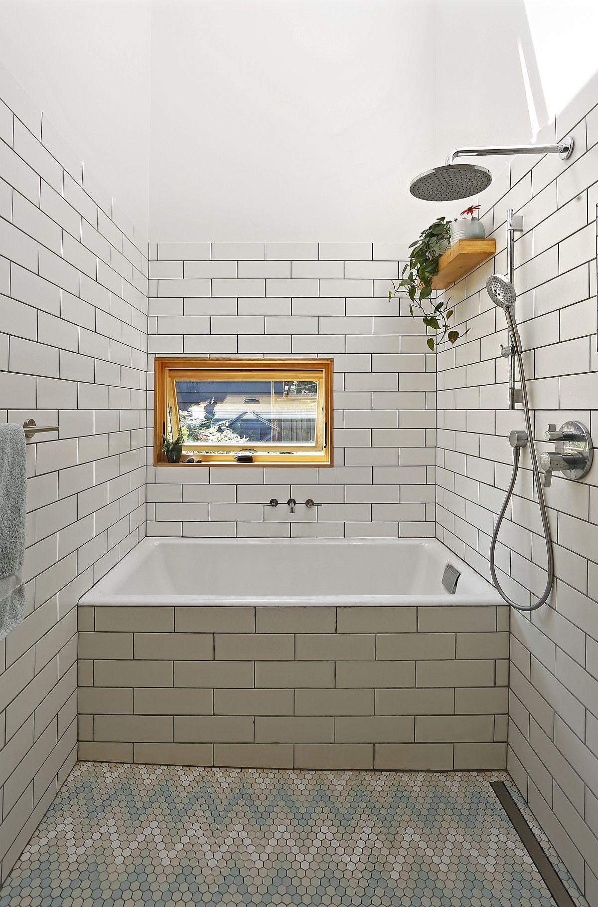 Interesting use of chevron pattern tile for the bathroom floor