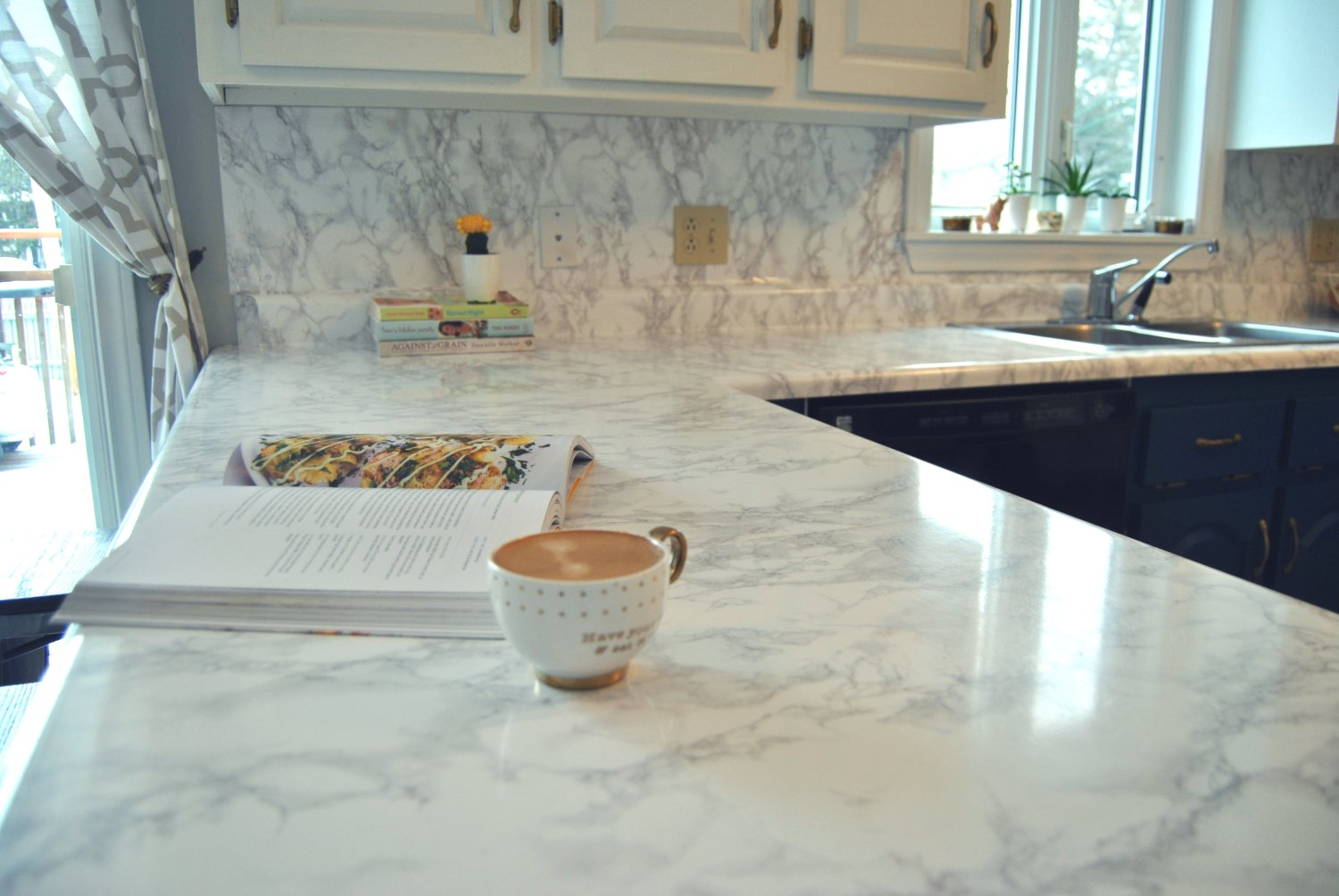 Kitchen makeover with marble contact paper