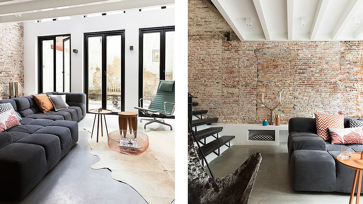 Lovely brick walls are combined with concrete floor in the living area