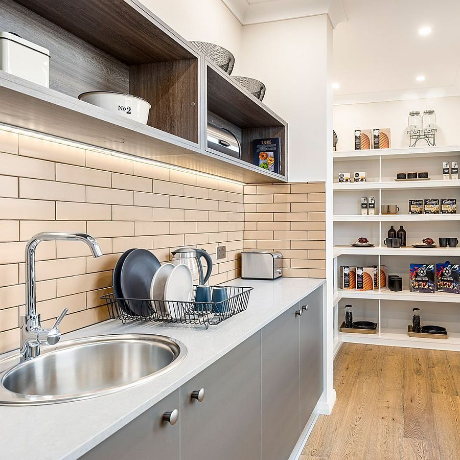 Making the industrial pantry a part of the kitchen with open shelving