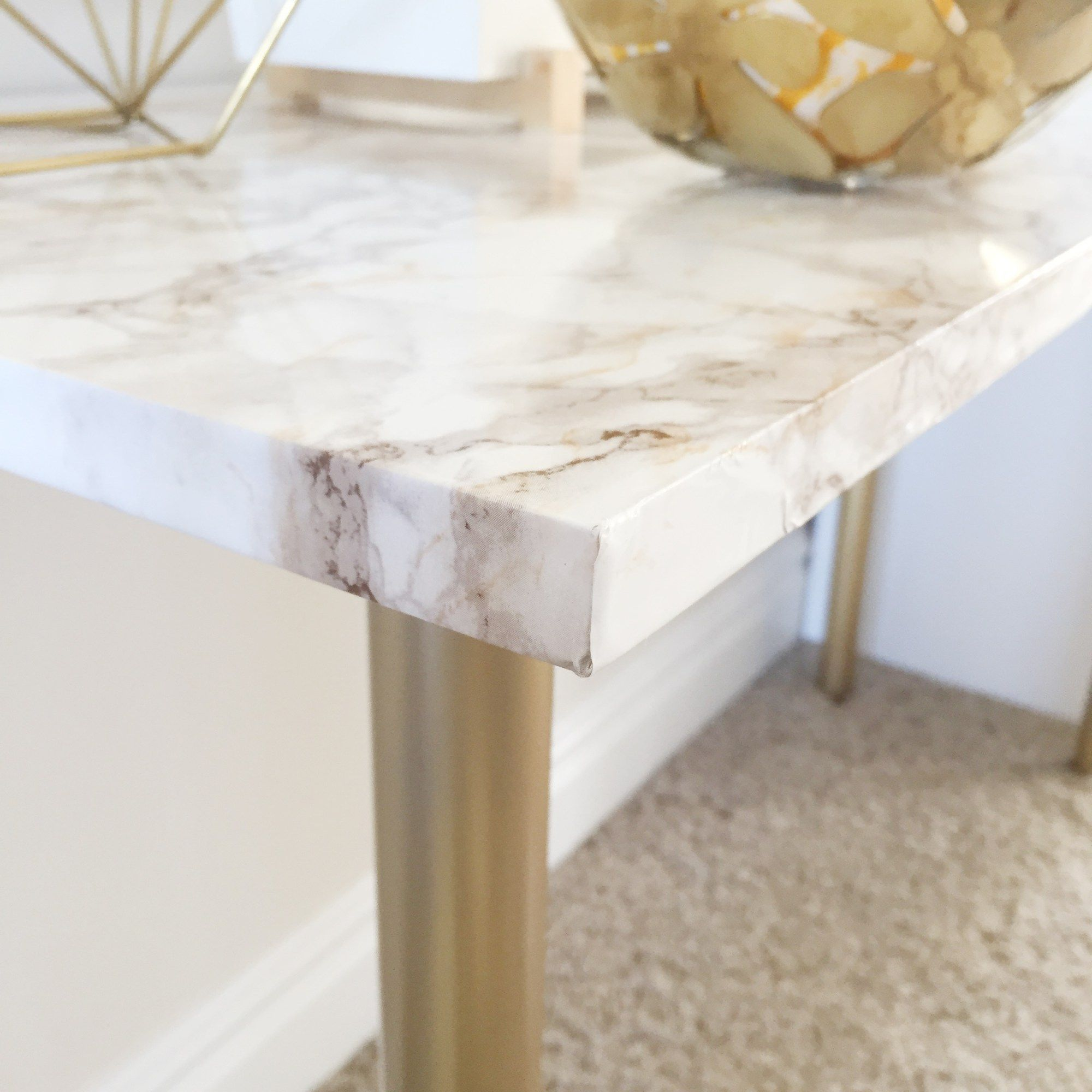 Marble contact paper desk project