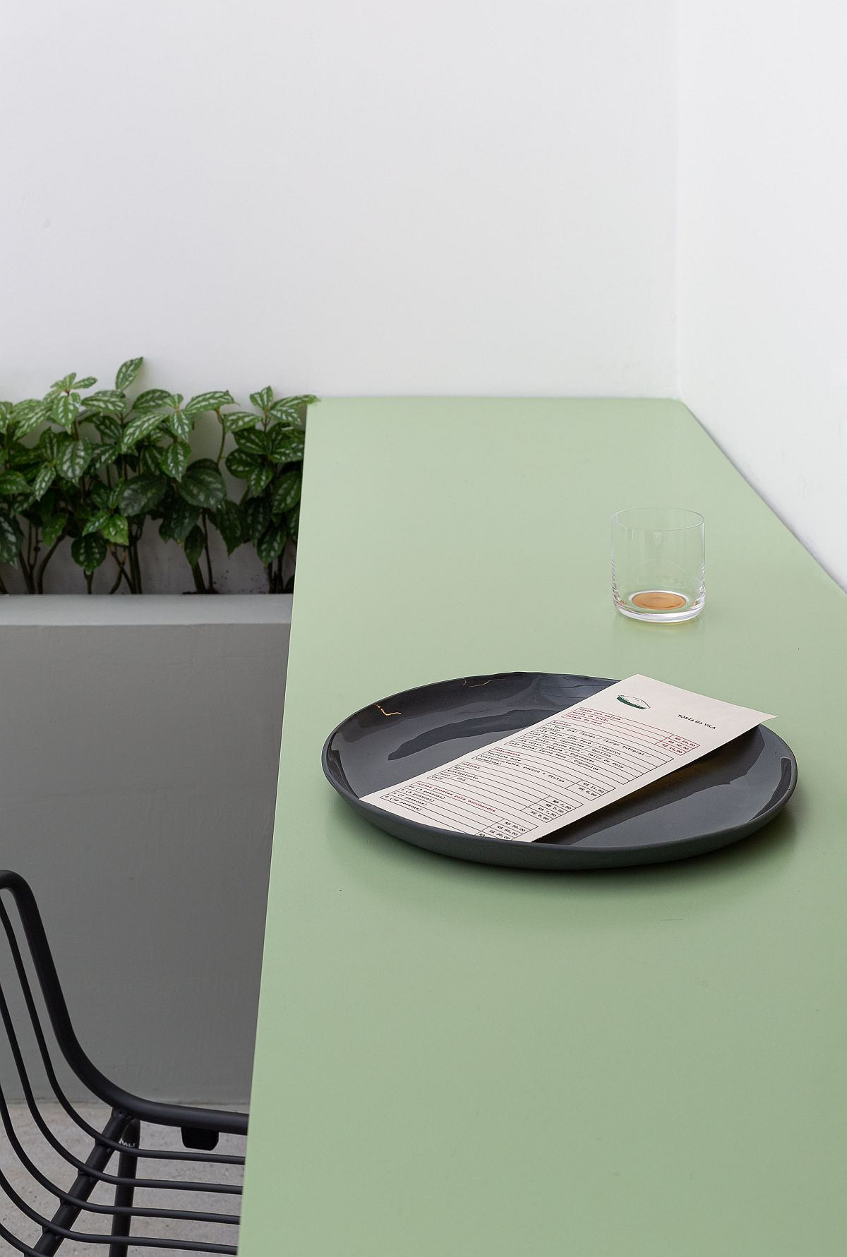 Minimal table and seats inside the restaurant save space with ease
