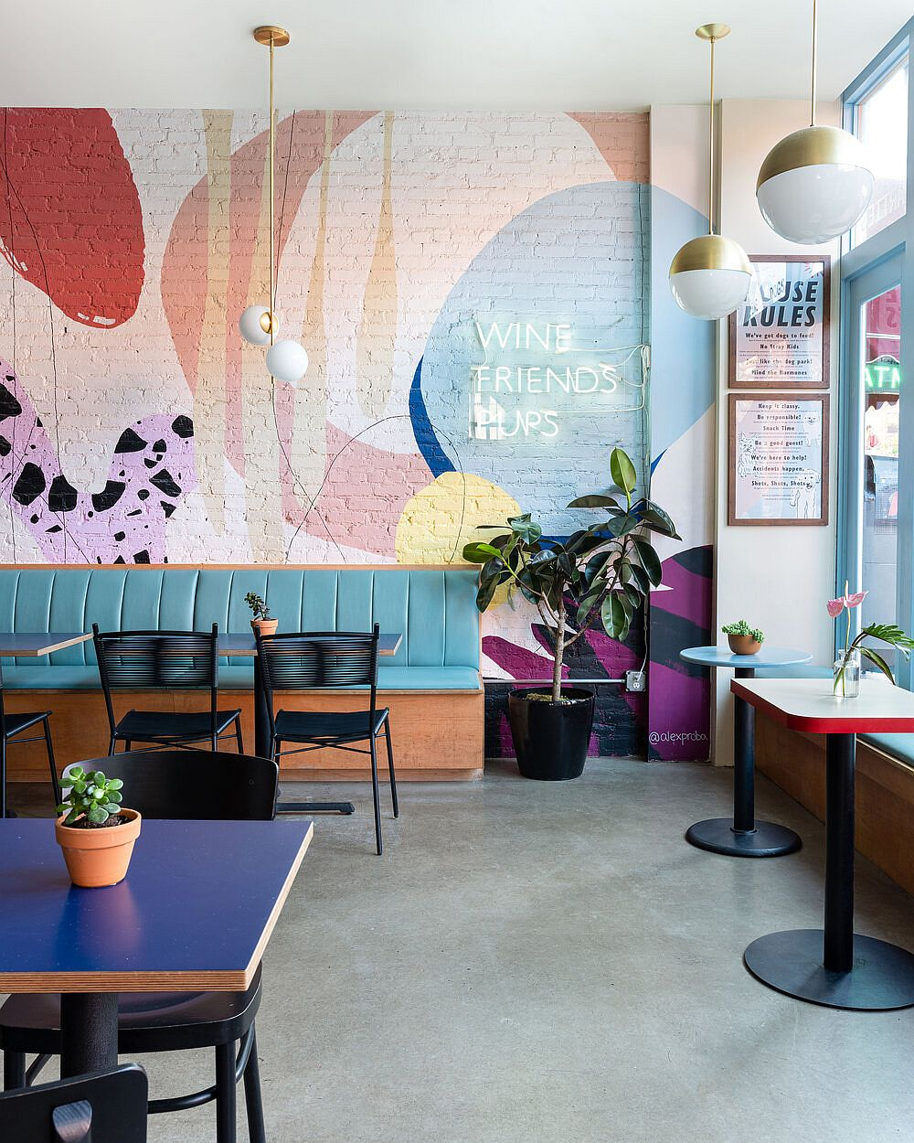 Modern, bright and colorful interior of Boris & Horton on New York City is a showstopper