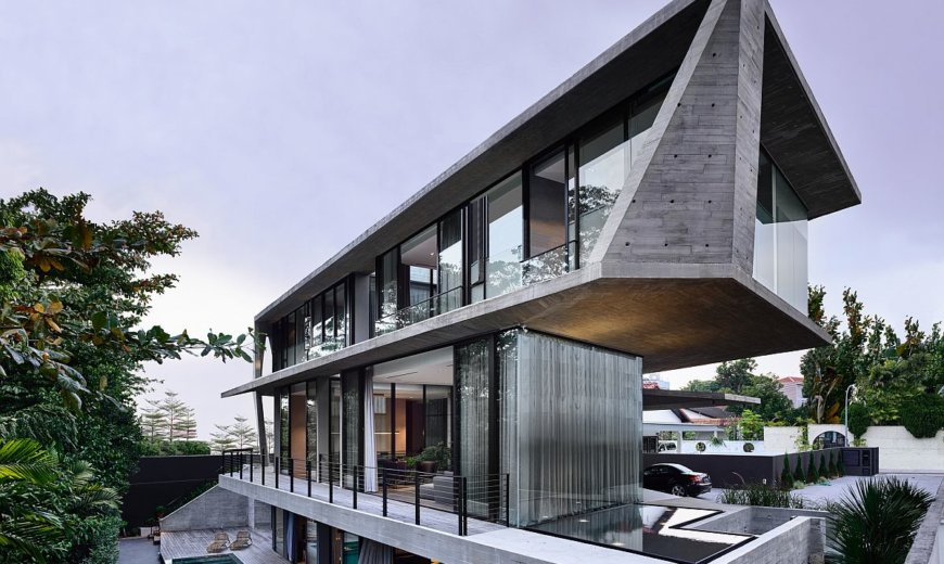 Exquisite Singapore Home with Geometric Façade Feels like an Oasis of Green