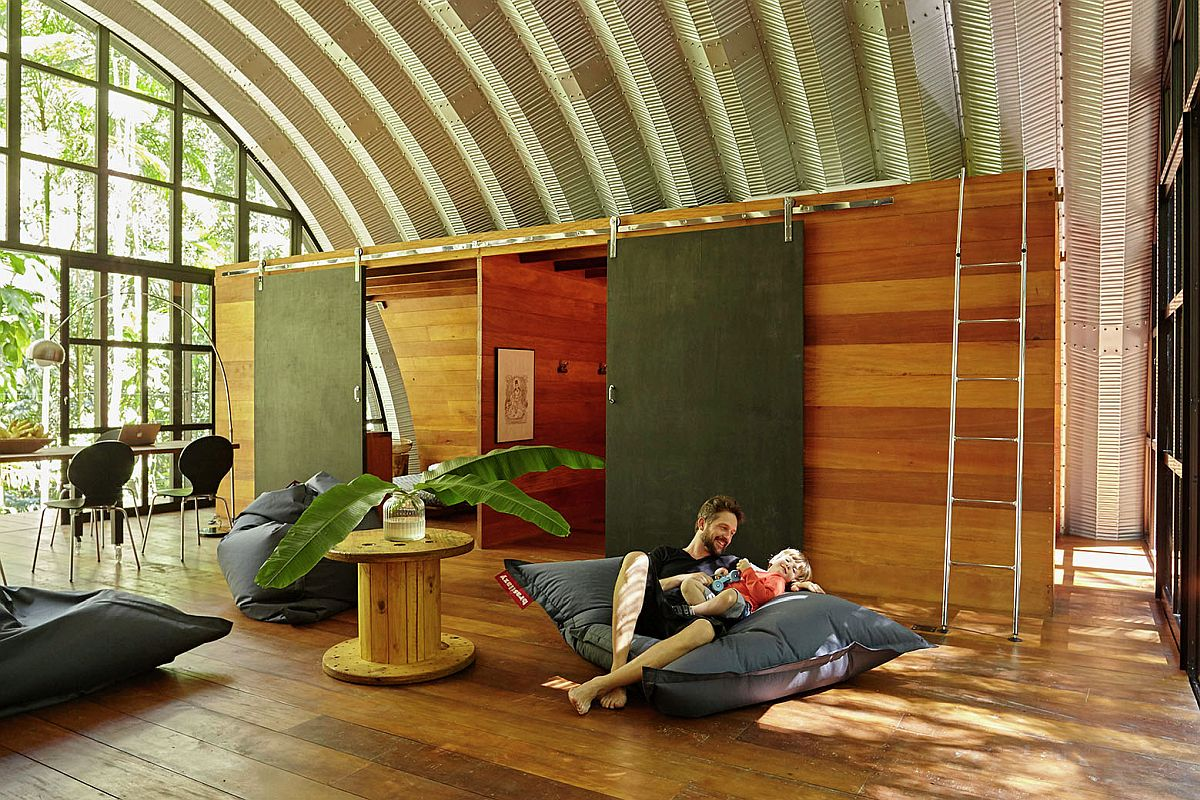 Multi-tasking living area can be used even as a workshop area on weekends