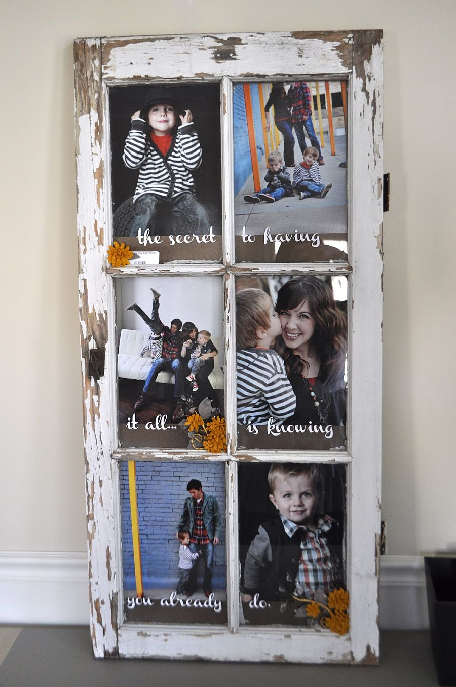 Old window turned into custom photo frame that has plenty of space for several photographs