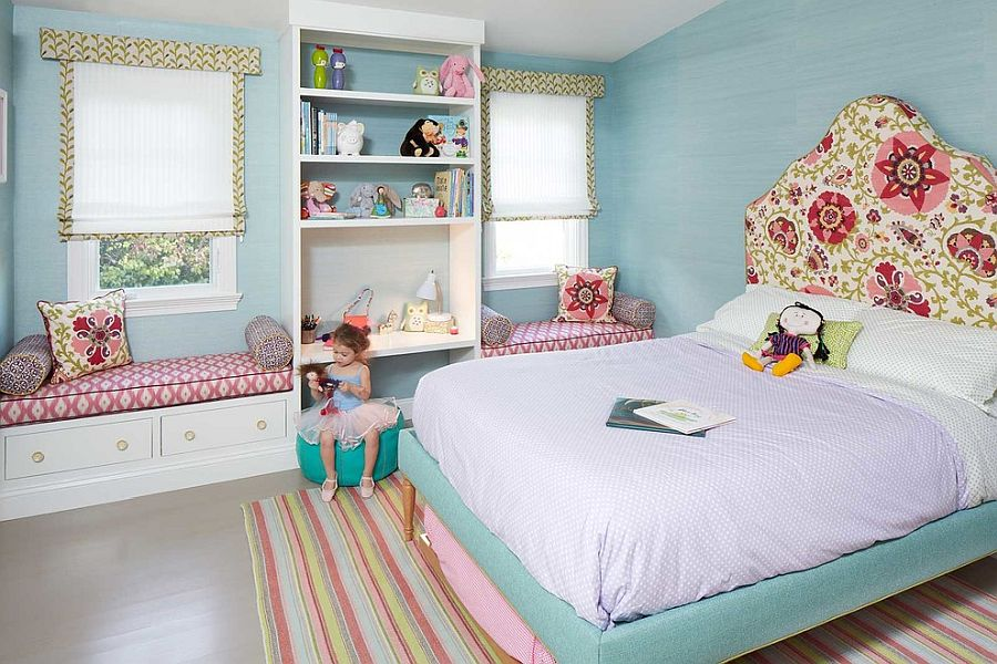 Pastel blue combined with pops of pink in the gorgeous modern kids' room