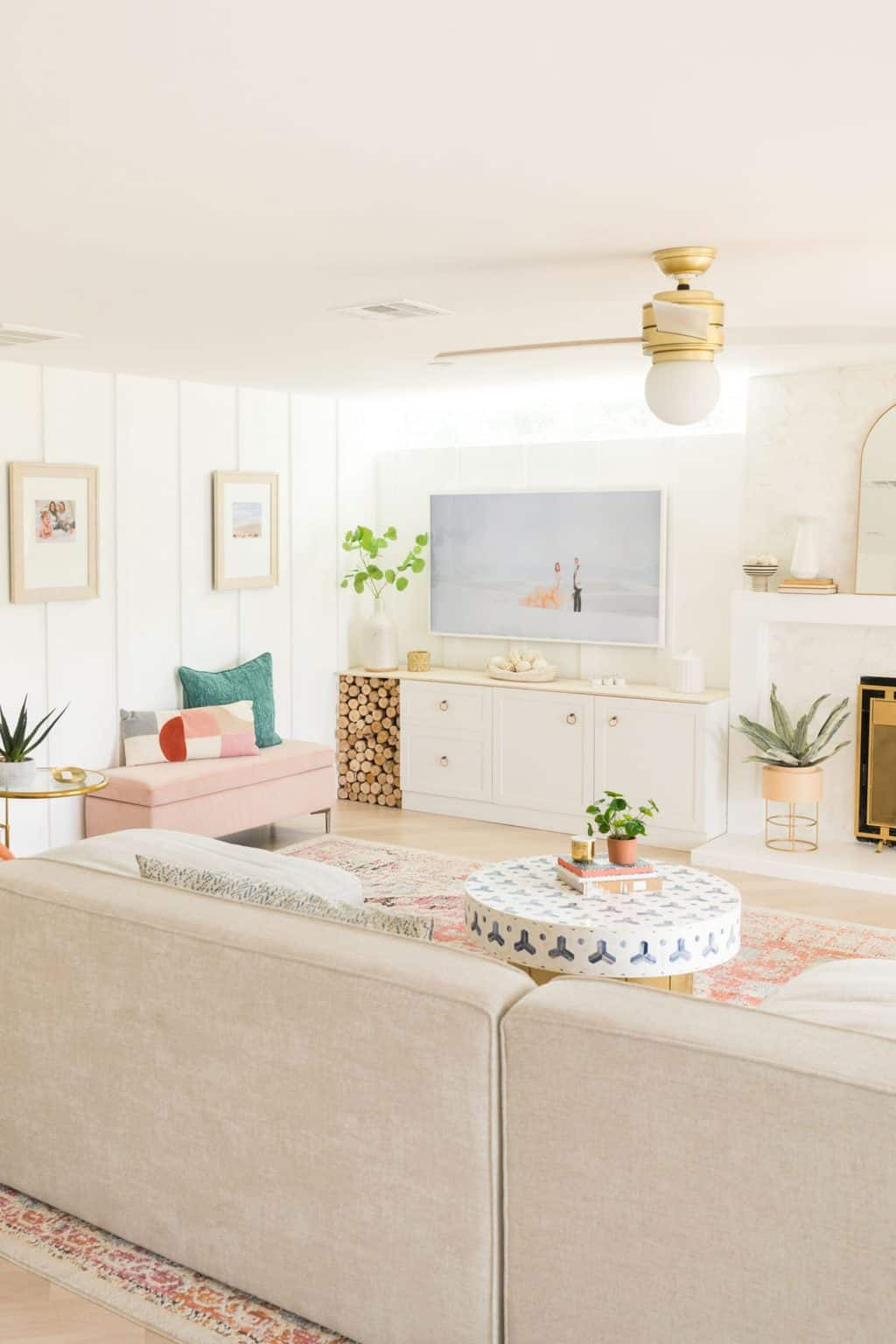 Pink, blue and white living room palette from Sugar & Cloth