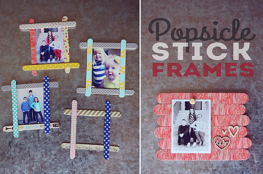 Popsicle stick picture frames are super cute and easy to craft